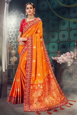 Orange embroidered bhagalpuri silk saree with blouse