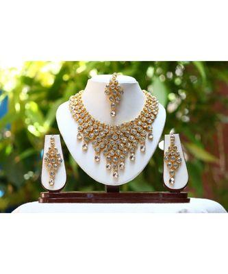 Reeti Fashions Uncut Kundan Raani Haar Elegant Necklace Set