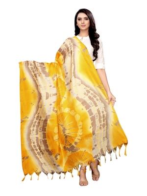 Yelllow Bhagalpuri Silk printed Womens Dupatta