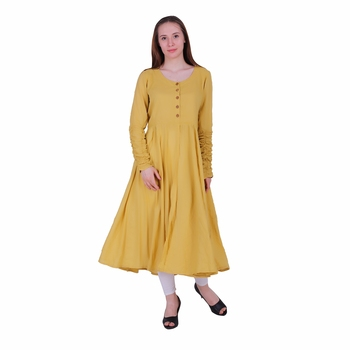 Yellow Plain Viscose Ethnic Kurti