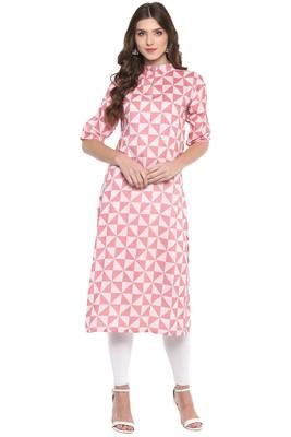 Pink Printed Casual wear Kurti