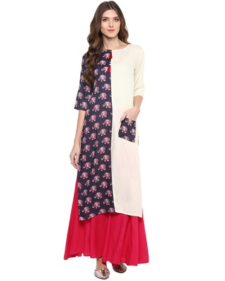 Purpal & White Printed Casual wear Kurti