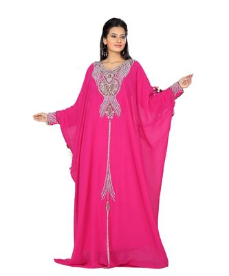 fuchsia pink georgette embroidered zari_work islamic kaftans