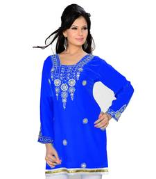 Royal Blue Georgette Embroidered Zari_Work Islamic Tunics