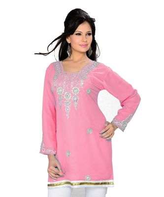 Soft Pink Georgette Embroidered Zari_Work Islamic Tunics