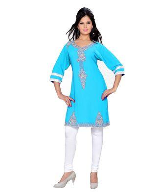 Sky Blue Georgette Embroidered Zari_Work Islamic Tunics