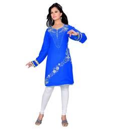 Royal Blue Georgette Embroidered Zari_Work Islamic Tunics