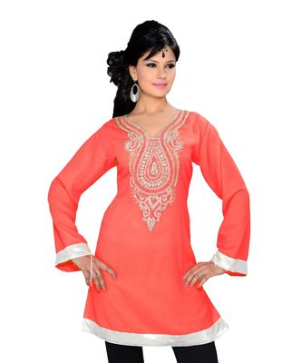 Coral Georgette Embroidered Zari_Work Islamic Tunics