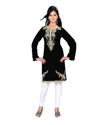 black georgette embroidered zari_work islamic tunics