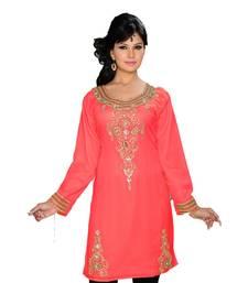 Coral Georgette Embroidered Zari_Work Islamic Tunics