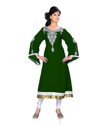 Bottle Green Georgette Embroidered Zari_Work Islamic Tunics