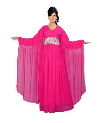Fuchsia Pink Georgette Embroidered Zari_Work Islamic Kaftans