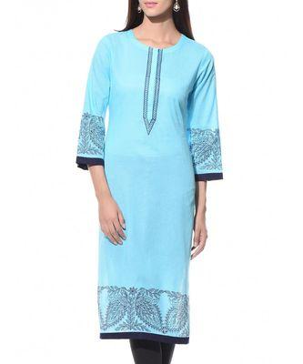 Turquoise Plain Cotton Stitched Kurti