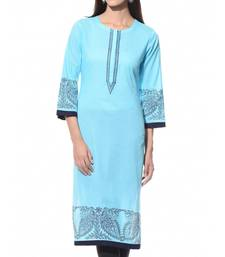 turquoise plain Cotton stitched kurti