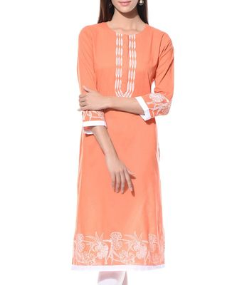 orange plain Cotton stitched kurti