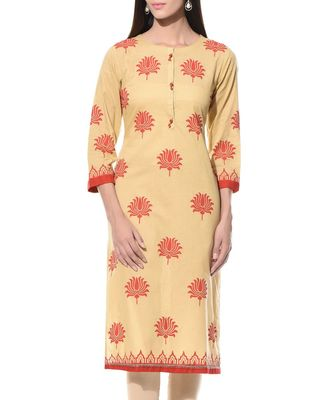 Beige plain Cotton stitched kurti