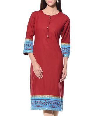 Maroon plain Cotton stitched kurti