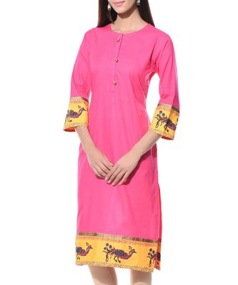 Pink plain Cotton stitched kurti