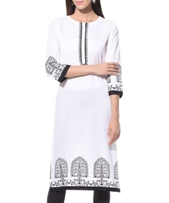 White plain Cotton stitched kurti