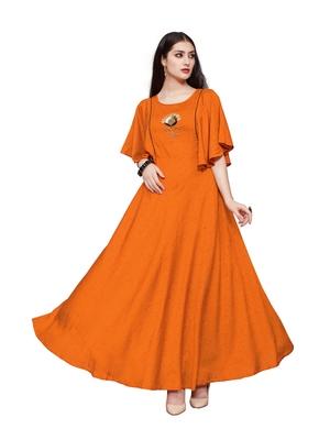 Orange plain rayon party wear kurtis