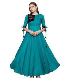 Sky-blue plain rayon party wear kurtis