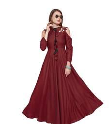 Maroon plain rayon party wear kurtis