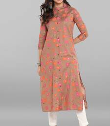 Light-brown printed cotton kurtis