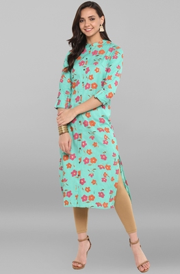 Sea-green printed cotton kurtis
