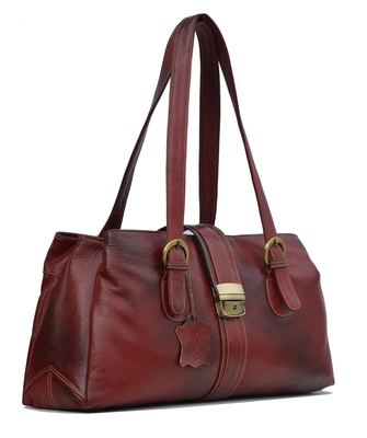 Genuine Leather Handbags For Women Cum Shoulderbag (Pure Leather Bag) (Wine Red)
