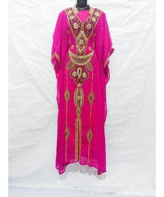 Pink Georgette Embroidered Zari Work Islamic Kaftan