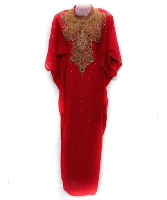 red georgette embroidered zari work islamic kaftan