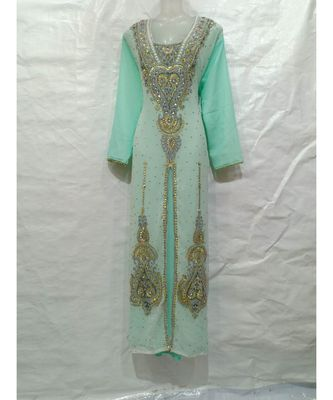 Green Georgette Embroidered Zari Work Islamic Kaftan