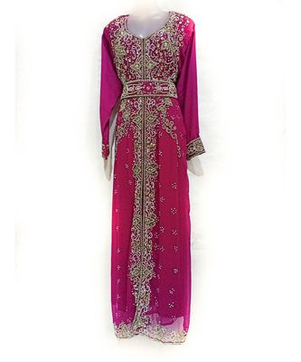 Purple Georgette Embroidered Zari Work Islamic Kaftan