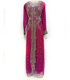 Purple Georgette Embroidered Zari Work Islamic Kaftan
