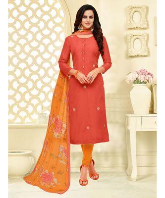 Orange printed Cotton Blend unstitched salwar with dupatta