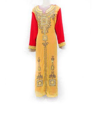 yellow georgette embroidered zari work islamic kaftan