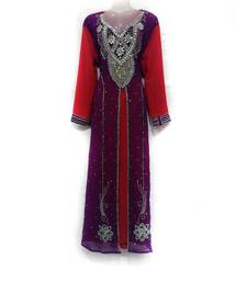Violet Georgette Embroidered Zari Work Islamic Kaftan