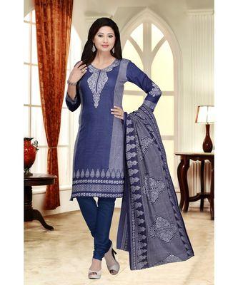 Blue printed Cotton Blend unstitched salwar with dupatta