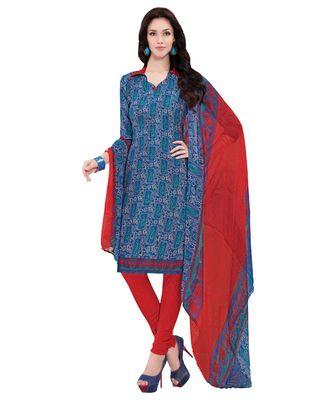 Blue printed Art Silk unstitched salwar with dupatta