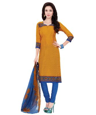 Yellow printed Art Silk unstitched salwar with dupatta