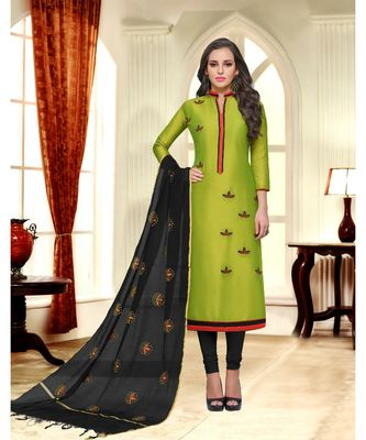 Green printed Silk Blend unstitched salwar with dupatta