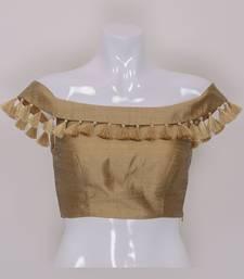 Designer Gold Colour Silk Plain tassels lace Ready Made Blouse
