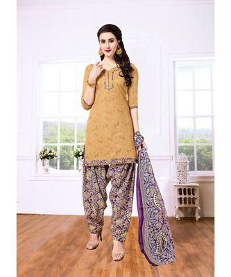 Beige printed Cotton Blend unstitched salwar with dupatta