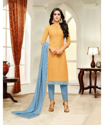 Yellow printed Silk Blend unstitched salwar with dupatta