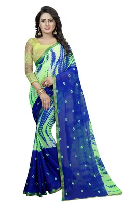 Blue Printed Chiffon Saree With Blouse