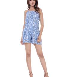 Women's Blue Rayon Printed Short Jumpsuit Romper
