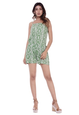 Women's Green Rayon Printed Short Jumpsuit Romper