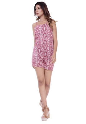Women's Pink Rayon Printed Short Jumpsuit Romper