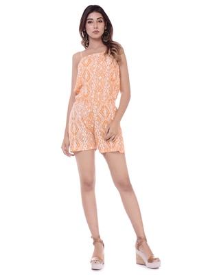 Women's Orange Rayon Printed Short Jumpsuit Romper