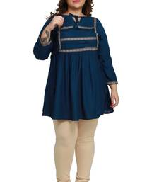 Kurtis India rayon slub Peacock Blue lace pattern Plus size ladies top